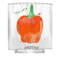 Orange Bell Pepper  Shower Curtain
