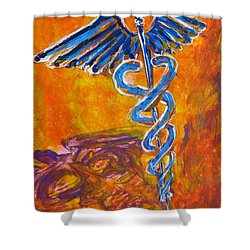 Orange Blue Purple Medical Caduceus Thats Atmospheric And Rising With Mystery Shower Curtain by M Zimmerman