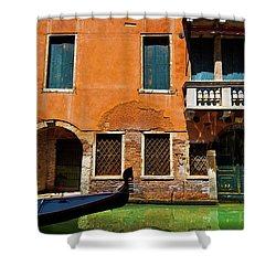 Orange Building And Gondola Shower Curtain by Harry Spitz