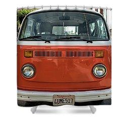 Orange Bus Shower Curtain