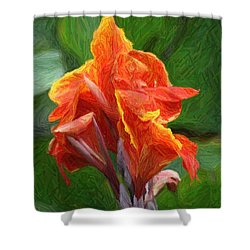 Orange Canna Art Shower Curtain by John W Smith III