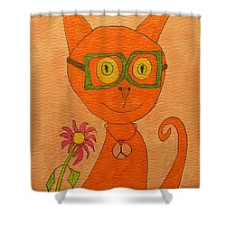 Orange Cat With Glasses Shower Curtain