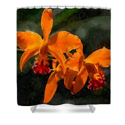 Shower Curtain featuring the digital art Orange Cattleya Orchid by Kai Saarto