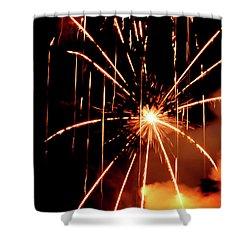Shower Curtain featuring the photograph Orange Chetola Fireworks by Meta Gatschenberger