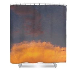Orange Cloud With Grey Puffs Shower Curtain by Don Koester