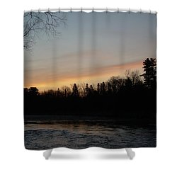 Shower Curtain featuring the photograph Orange Clouds Mississippi River Dawn by Kent Lorentzen