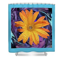 Orange Daisy Swirl Shower Curtain