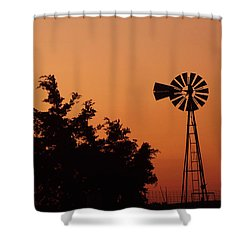 Orange Dawn With Windmill Shower Curtain