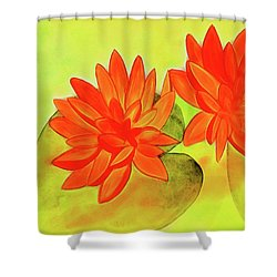 Orange Waterlily Watercolor Painting Shower Curtain
