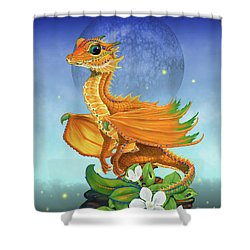 Shower Curtain featuring the digital art Orange Dragon by Stanley Morrison