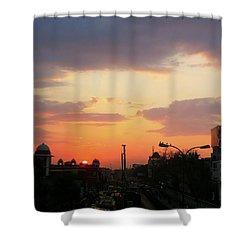 Orange Evening Sky Shower Curtain