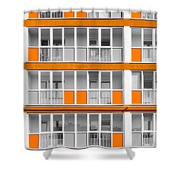 Orange Exterior Decoration Details Of Modern Flats Shower Curtain