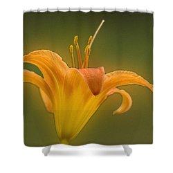 Orange Flower Head  Shower Curtain