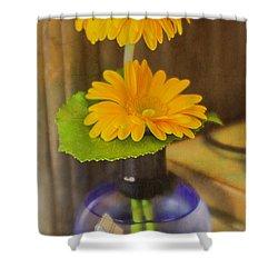 Orange Flowers Blue Vase Shower Curtain