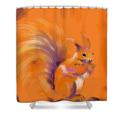 Orange Forest Squirrel Shower Curtain