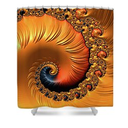Shower Curtain featuring the digital art Orange Fractal Spiral Warm Tones by Matthias Hauser