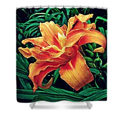 Orange Frenzy Shower Curtain by Sarah Loft