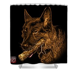 Shower Curtain featuring the digital art Orange German Shepherd And Toy - 0745 F by James Ahn