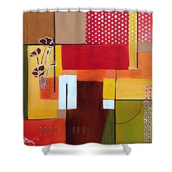 Orange Green, Abstract  Shower Curtain