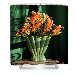 Orange Lilies In June Shower Curtain by Wendy Blomseth