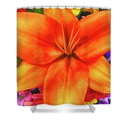 Shower Curtain featuring the painting Orange Lilly Art by Deborah Benoit