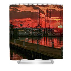 Orange Marina Sunrise Shower Curtain