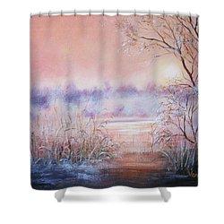 Orange Mist Shower Curtain