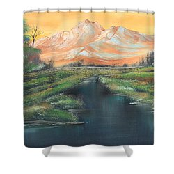 Orange Mountain Shower Curtain by Remegio Onia