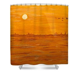 Shower Curtain featuring the painting Orange Ocean by Ian  MacDonald