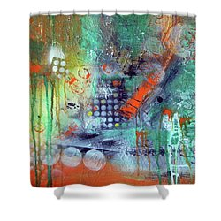 Shower Curtain featuring the painting Orange Optimist by Everette McMahan jr