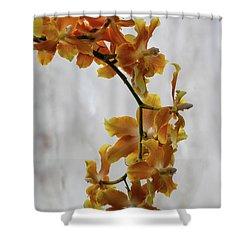 Orange Orchids Shower Curtain by Darleen Stry