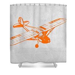 Orange Plane 2 Shower Curtain by Naxart Studio
