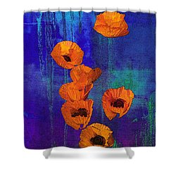 Orange Poppies Shower Curtain