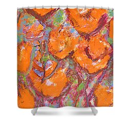 Orange Poppies Shower Curtain