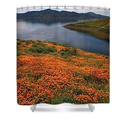 Orange Poppy Fields At Diamond Lake In California Shower Curtain by Jetson Nguyen