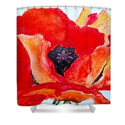 Orange Poppy Shower Curtain