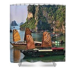Orange Sails Asian Cruise Vietnam  Shower Curtain