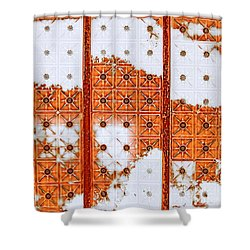 Shower Curtain featuring the mixed media Orange Scented Bleach by Lita Kelley