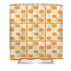 Orange Sherbet Shapes Shower Curtain by Patricia Strand