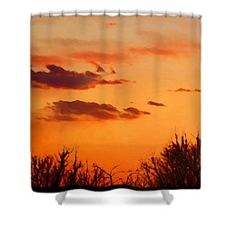 Shower Curtain featuring the digital art Orange Sky At Night by Shelli Fitzpatrick