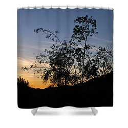 Orange Sky Nature Silhouette Shower Curtain