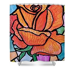 Orange Stained Glass Rose Shower Curtain