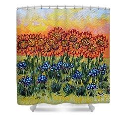 Orange Sunset Flowers Shower Curtain
