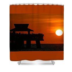 Orange Sunset In Naples Shower Curtain