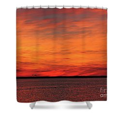 Orange Sunset On The New Jersey Shore Shower Curtain