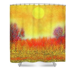 Orange Sunset Shimmer - Field In Boulder County Colorado Shower Curtain