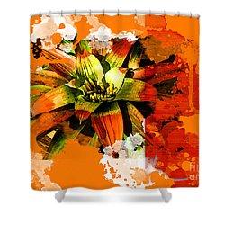 Orange Tropic Shower Curtain