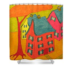 Orange Umbrella Tree And Three Homes Shower Curtain