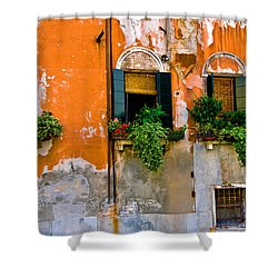 Orange Wall Shower Curtain by Harry Spitz