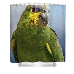 Orange Wing Amazon Parrot Shower Curtain